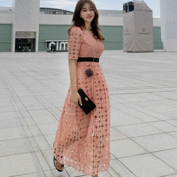 19 New Runway Hollow Out Patchwork Elegant Long Dress Women Autumn Ankle-length Swing OL Lace Half Sleeve Dresses Vestidos