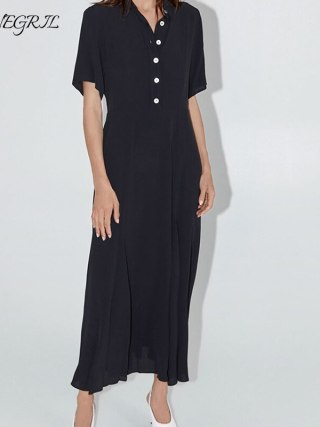 19 Dress Womens Summer Fashion Concise Casual Turn-down collar half Sleeve dress single breasted A Line black long dress