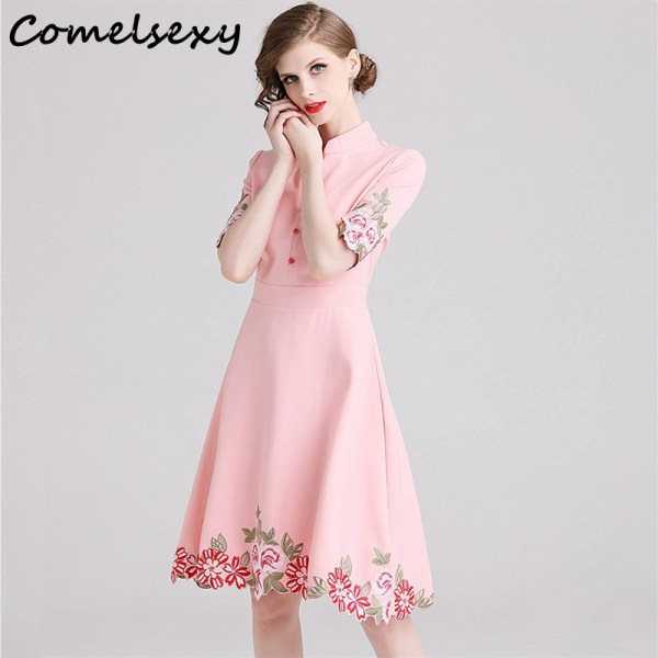 Comelsexy New Ladies Vintage Stand Collar Party Dress Spring Summer Midi Vestidos Women Pink Half Sleeve Embroidery Floral Dress