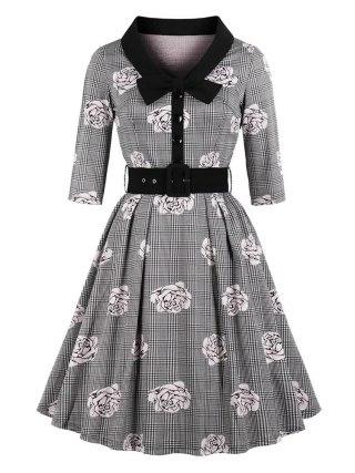 New Autumn Women's Vintage Flare Dress Bow Tie Belt Slim Plaid Rose Print Half Sleeves Dress Plus Size Large Swing Elegant Dress