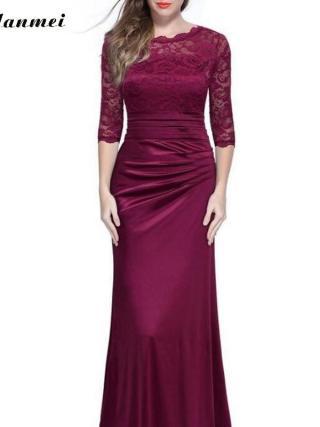Lace Patchwork Elegant Maxi Lace Dress Women Sexy Skinny Long Bodycon Half Sleeve Dresses Summer Party Vestidos 18 Club Jurken