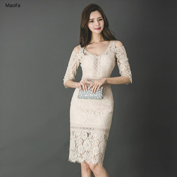 Summer Dress 18 Women Dress Lady Half Sleeve Sexy Bodycon Dress Elegant Skinny Floral Pattern Lace Dresses Slim Vestido Party