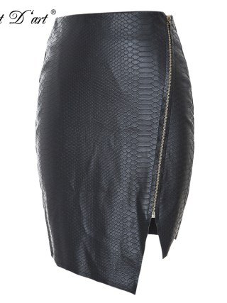 Fashion Women Zipper Up Faux Snake Skin Leather Skirt Polyester Lining Sexy Asymmetrical PU Mini Skirt High Quality For 4 Season