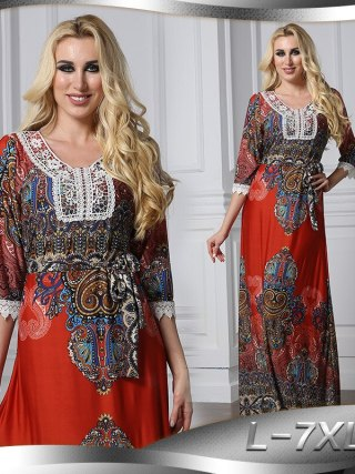 Floral Bohemian women long dress large size half sleeve maxi dress plus size lace v-neck summer dress large vestidos L-7XL