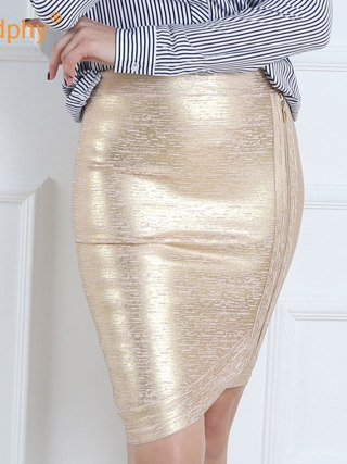 Women gold foil bandage skirts zipper asymmetric rayon spandex mini sexy bodycon pencil skirt HL for nightclub fashion HL410