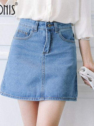 Nonis Basic A-line Retro Academy style Denim Jeans Skirts For Women Spring Summer slim figures New Plus Size femme Skirts