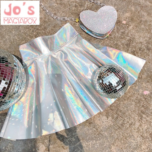 Holographic Pleated Skirts Women PU Solid Harajuku Casual Sexy Laser Hight Waist Micro Mini Short JK Skirts Women Rainbow