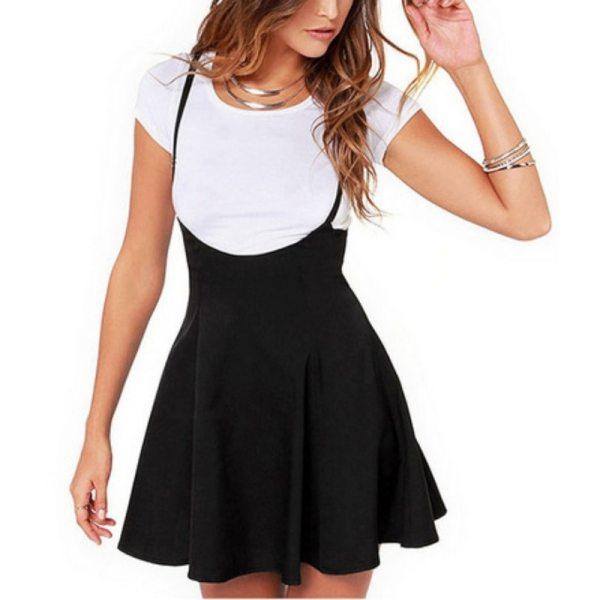 Women Black Skirt with Shoulder Straps Pleated Skirt Suspender Skirts Patchwork Color Female Cozy High Waist Mini School Skirts