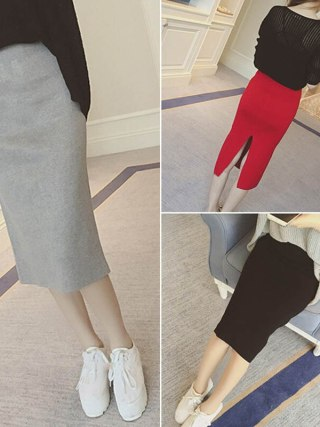 16 Spring autumn and winter when the bag hip skirt step skirt stretch slim slim skirt waist in female