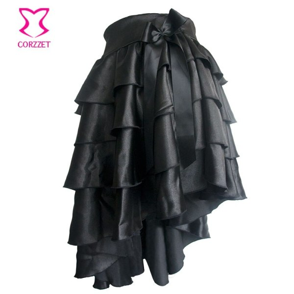 Black Ruffle Satin Tiered Asymmetical Saia Victorian Women Skirt Retro Steampunk Corset Skirt Sexy Ladies Skirts Gothic Clothing