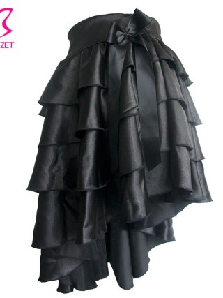 Black Ruffle Satin Tiered Asymmetical Saia Victorian Women Skirt Retro Steampunk Corset Skirt Sexy Ladies Skirts Gothic Clothing