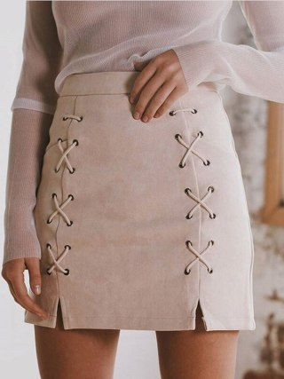 Hot Sale Lace Up Women's Suede Skirts Winter Autumn Spring Casual High Waist Pencil Skirts Mini Skirt Black Nude New Size S-XL