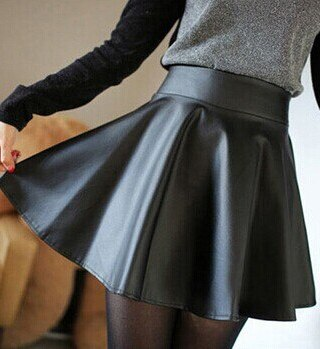 19 New spring and summer fashion style Korean retro Black PU Leather skirt pleated faux leather skirt Drop shipping