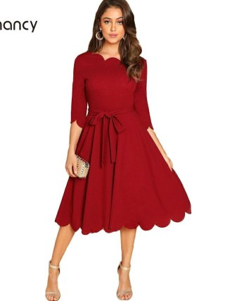 Kenancy Solid Plus Size Women Causal Dress Autumn Wave Cut Half Sleeve Femme Party Dresses Lace Up A-Line Midi Feminino Vestidos