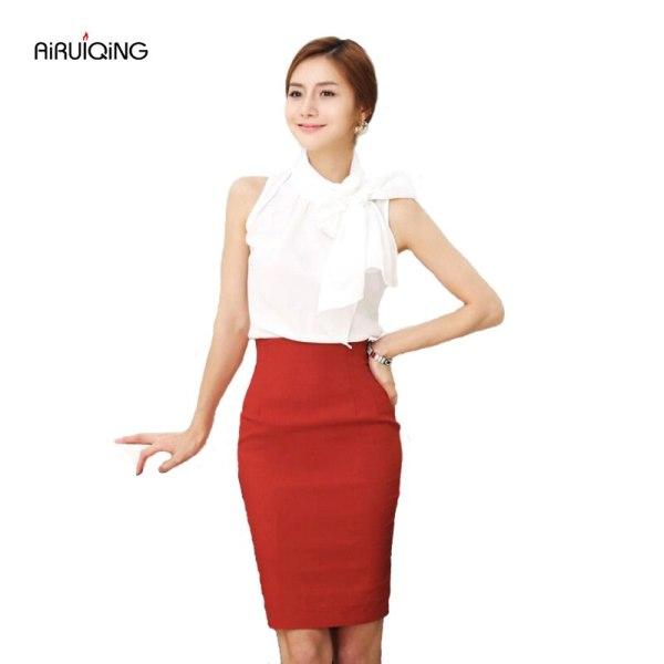 Pencil Skirt Women 19 Elastic High Waist Slim Hips Red Black Formal Saias Feminino Lady OL Office Bodycon Skirts Plus Size