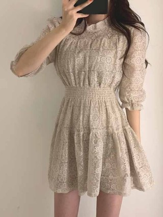 19 Summer Women Lace Dress O-neck Half Sleeves A-line Dress Solid Ruffle Lace Patchwork Dress Vestidos