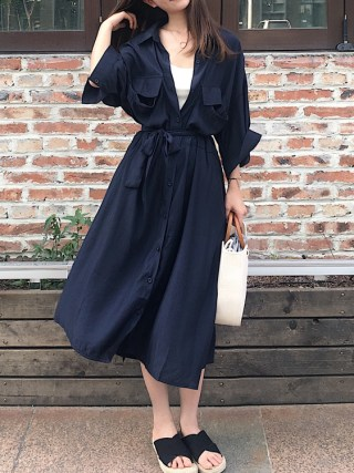 Women cardigan pocket half Sleeve Brown Dress Oversize Collar Buttons Long Shirt Dresses Women Casual Dress Robe Femme Vestido