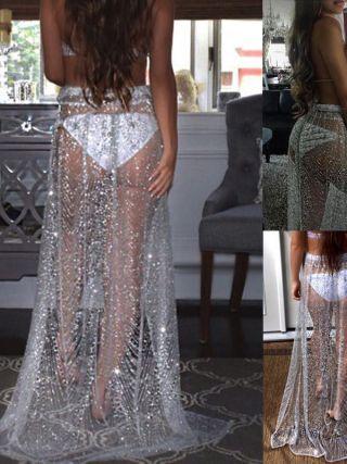 Summer Sexy Beachwear Rhinestone Long Sequin Skirt Loose Side Split Mesh See Through Gold Maxi Glitter Skirt Sparkle Female