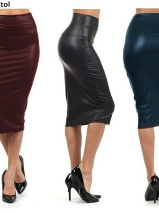 Bohocotol 19 summer women plus size high-waist faux leather pencil skirt black leather skirt S/M/L/XXXL Drop shipping