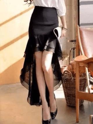 Elegant Women Skirt Fishtail Skirt Chiffon Slim Fit Irregular Skirt