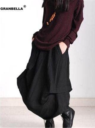 Original design European casual style Linen skirts casual style asymmetrical Women cotton linen skirts