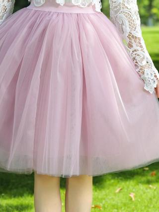 7 Layers Midi A Line Tutu Tulle Skirt High Waist Pleated Skater Skirts Womens Vintage Lolita Ball Gown Summer 19 saias jupe