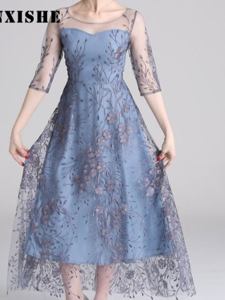 Spring Mesh Patchwork Embroidery Women Dress O Neck Half Sleeve Maxi High Quality Elegant Luxury Dresses Ladies robe longue