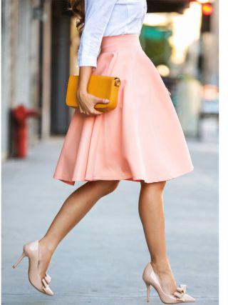 New Vintage Women Casual Skirt Stretch High Waist Skater Pleated Swing Fashion Skirt