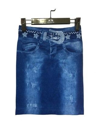 18 Women Summer Imitation denim skirt casual Elegant Sexy High Waist Bodycon Pencil Skirts Lady Elastic slim print Mini D50