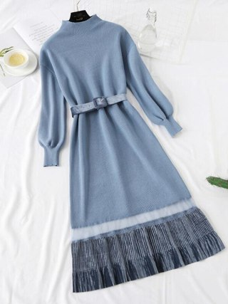 Autumn Winter Quality Long Knitted Dress Women Half turtleneck Sweater Dresses LADY Vintage Long sleeve Warm Pleated Dress
