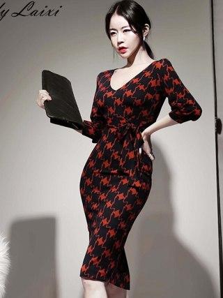 Spring Office Lady Printed bodycon Pencil Dress Women V-neck Half sleeve sheath Dresses Slim Fitted OL Work Wear Vestidos