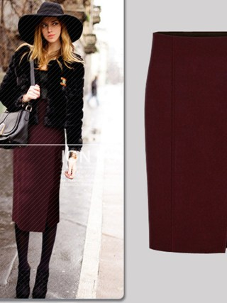 17 Autumn Winter Fashion Women Pencil Skirts Sexy Cotton and Wool Knit Slim High Waist Knee-Length Skirt Jupe Femme Female 50