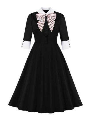 Sweet Hepburn Womens Dresses Autumn Half Sleeves Polo Pin Up With Bow Patchwork Vintage Button Casual Knee-length Party Dresses