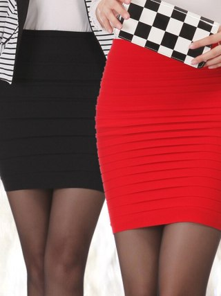 100% New 15 Colors Summer Lady Short Mini Jupe Bandage Slim Bodycon Fashion Skirts High Waist Elastic Pleated Hip Short Skirt