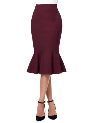 17 Skirts Faldas Women's Fashion OL Casual Mermaid Dark Wine Black Pencil Skirt Jupe Longue High Waist Sexy Long Skirt