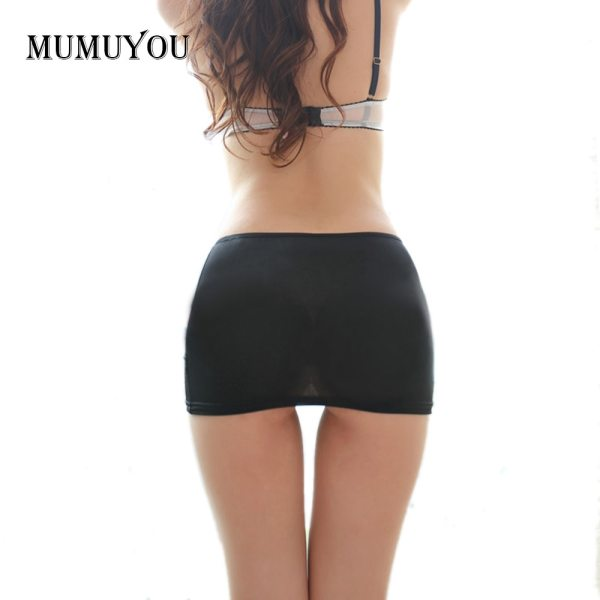 Ladies Hot Bodycon Bandage Elastic Skirt Micro Mini Erotic Low Waist Clubwear Nightclub Sexy Solid Color Black/White 047-2615