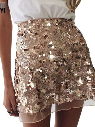 LAISIYI Gold Sequin Mesh Mini Skirts Womens Christmas High Waist Skirt Zipper Casual Short Party Beach Black Skirt ASSK005