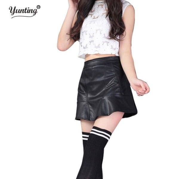 Women 19 Black Red High Waist Bodycon PU Leather Casual Autumn Winter Split Front Slim Pencil Sexy Mini Skirt saias femininas