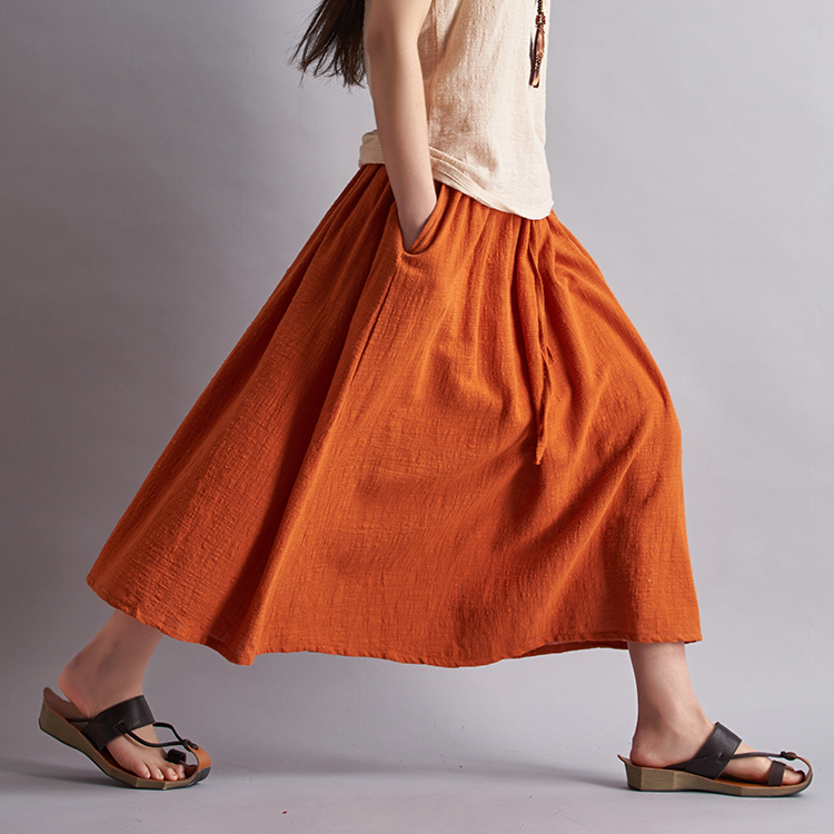 18 Fashion Brand Women Linen Cotton Long Skirts Elastic Waist Pleated Maxi Skirts Beach Boho Vintage Summer Skirts Faldas Saia