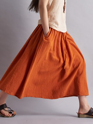 18 Fashion Brand Women Linen Cotton Long Skirts Elastic Waist Pleated Maxi Skirts Beach Boho Vintage Summer Skirts Faldas Saia