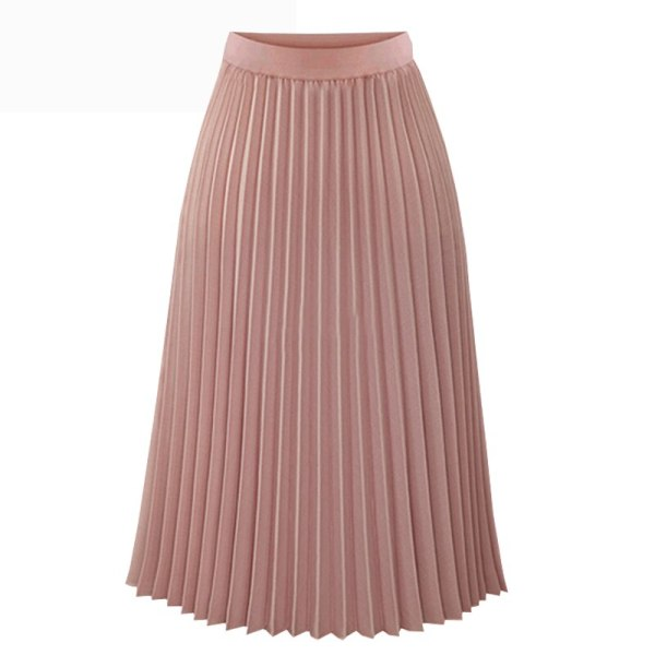 Fashion Spring Summer Long Chiffon Pleated Skirt Women Solid Elastic Waist Skirts Casual Skirt 19 Black White S M L XL