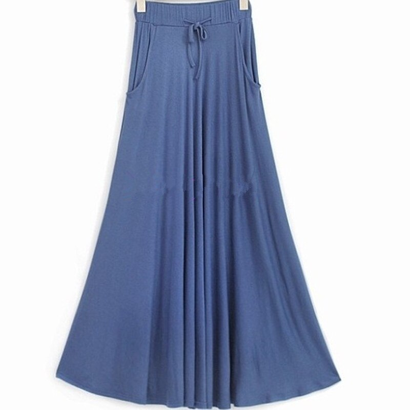 Free Shipping 19 New Plus Size XS-10XL Long Maxi Skirt With Big Hem Cotton Stretch Waisted Black Skirt High Quality Customized