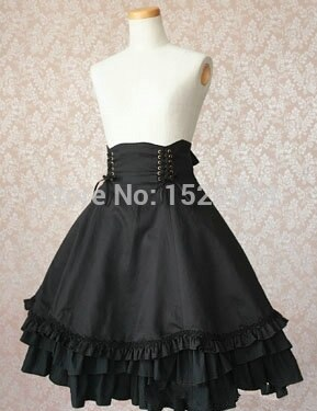 High Quality Girls Women Cotton Empire Waist Gothic Lolita Skirt With Bow-knot Ornament Women Cosplay Costume