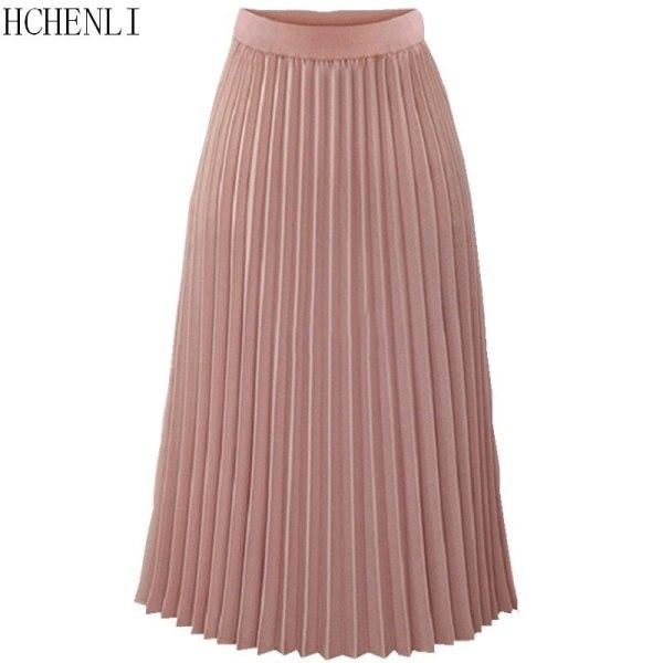 Hchenli women Pleated Skirts Pink Long Fashion Skirt High Waist Elegant Ladies Cotton Linen Spring Autumn Summer Clothes