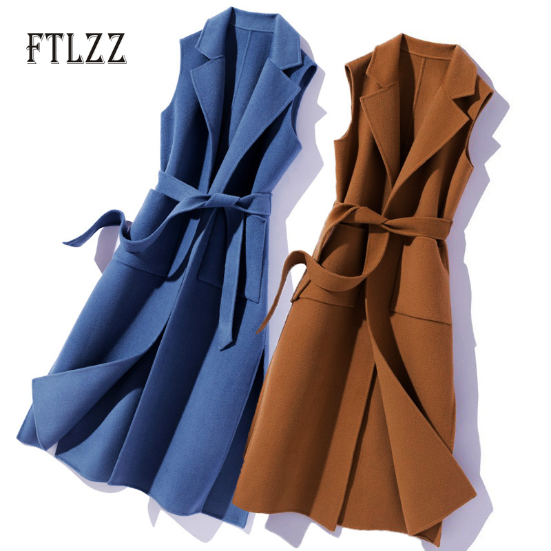 New 2020 Spring Autumn Sleeveless Vest Women Slim With Blet Meidum Long Outerwear Elegant Turn Down Collar Woman Vests Mujer