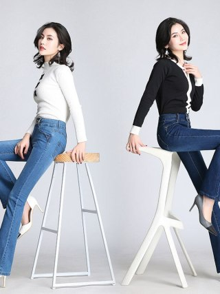 Women Vintage Jeans For Women Flare Jeans Stretch High Waist Button Casual Spring Stretchy Denim Pants