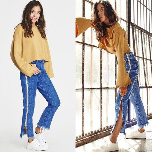 High Waist Denim Long Jeans Women Flare Pants Unique Double Side Zipper Split Bell Bottom Teenage Girl Chic Streetwear Plus Size