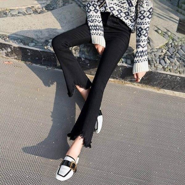 High Waist black flare Tassel Jeans Woman Thin Fringed Edges Ankle trousers Horn high waist skinny bell bottom Denim Pant Female