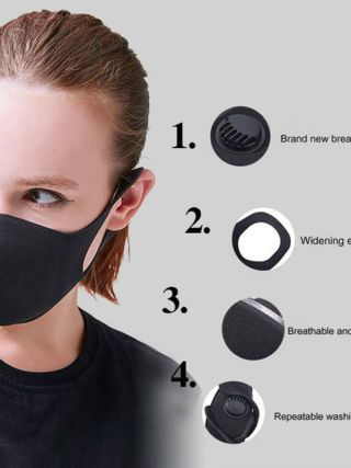 Fashion Solid Reusable Cotton Face Mask Activated Carbon Mask With Filter-Washable Unisex