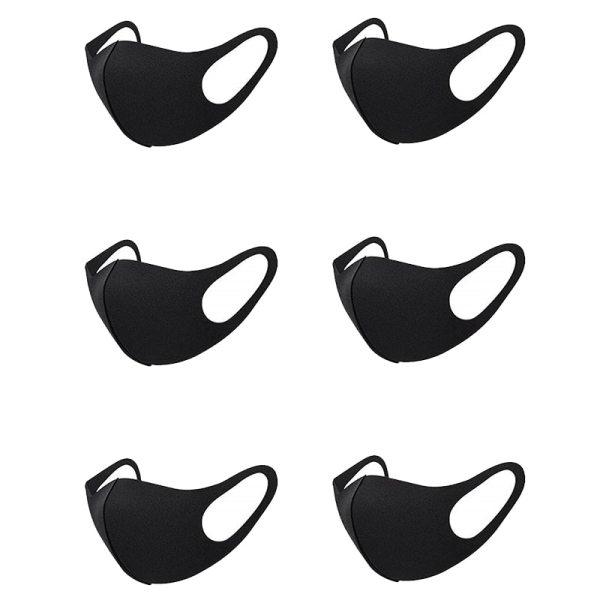 Unisex Face Mask Dust Mask Anti Air Pollution Dust Mask Unisex Mouth Mask,Washable and Reusable Black Cotton Face Mask 6Pcs Blac